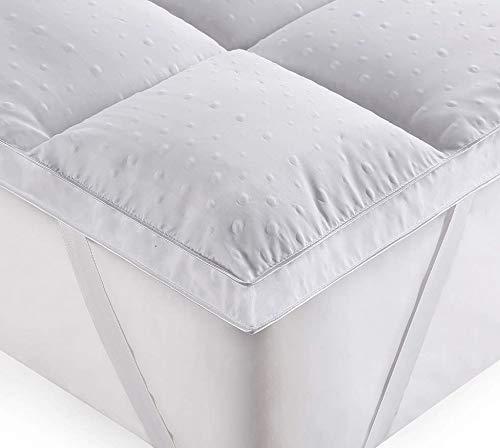 rejuvopedic New Double Bed Size Microfibre Mattress Topper,** New 3D Massage Bubbbles Fabric**, Box Stitched, 230 TC Cover & Elasticated Corner Straps