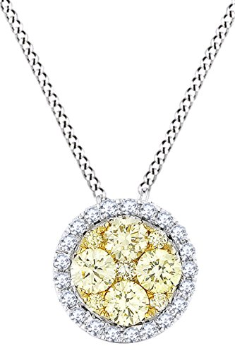 Round Yellow & White Natural Diamond Circle Pendant Necklace 14k Solid White Gold (0.46 Cttw)