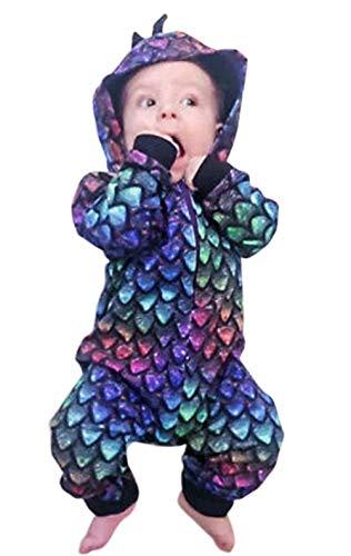 KimSoong Newborn Baby Boys Girls Cartoon Dinosaur Hoodie Romper Onesies Jumpsuit Outfits Toddler Autumn Jumpsuits Size 3-6Months/Tag70 (Purple)