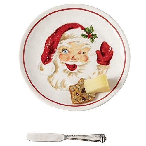 Mud Pie 41100002 Vintage Santa Serving Cheese Plate Set, One Size, White/Red ()