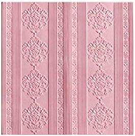3d壁紙シート 3D自己粘着壁紙テレビの背景の壁スタイルのリビングルームのベッドルームのソフトパッケージの壁の改修 3d壁紙天井 (Color : Pink)