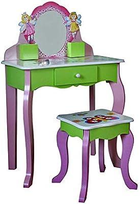YBWEN Los niños juegan Herramientas Vanity and Stool - Juego de Mesa y Silla para niños con Espejos y cajones de Maquillaje. El Juego de aparentar (Color : Rosado, tamaño : 88.5 *