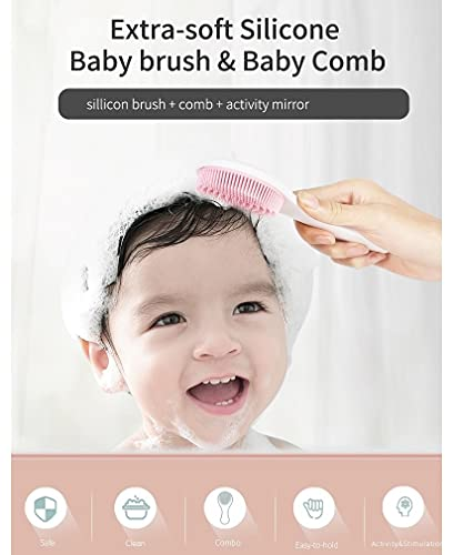 Baby Cap Brush for Shower, Green Silicone Brush, with Comb and Mirror Foldable, Clean Baby's Scalp Hair, Newborn Bath Safe Soft Wash Cradle Cap, Three-in-one Design by SIOTMERA