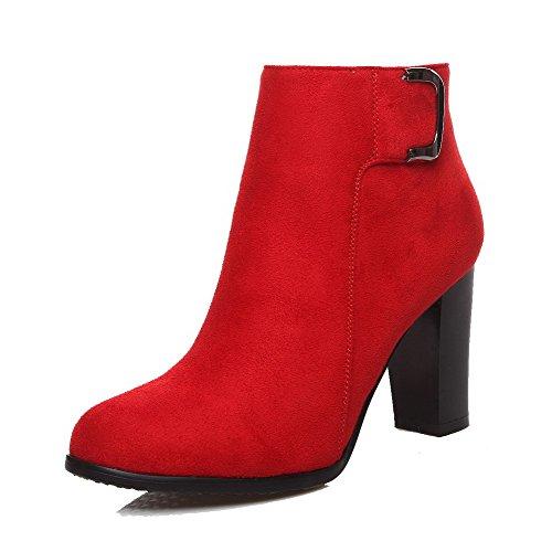 VogueZone009 Damen Rein Hoher Absatz Rund Zehe Nubukleder Reißverschluss Stiefel, Rot, 33