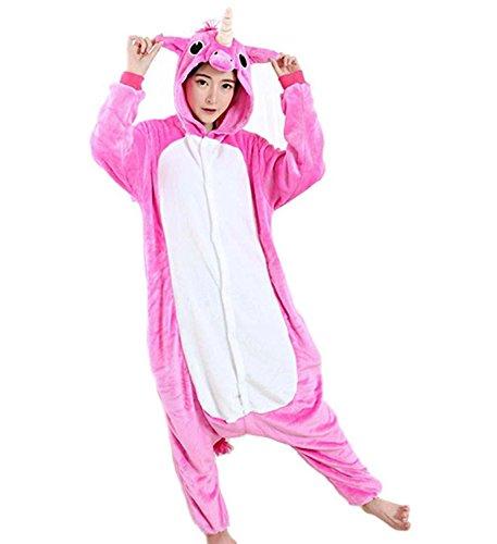Creativo 3D Unicorno Pigiama Indumenti da Notte Cosplay Costume Unicorno Onesies Per Donna Adulti (XL, Rosa 2)