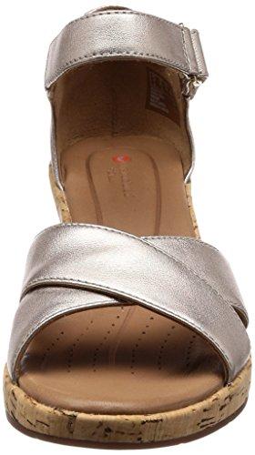 Clarks Ladies Un Plaza Croce Sandali Con Cinturini Oro (oro Metallizzato)