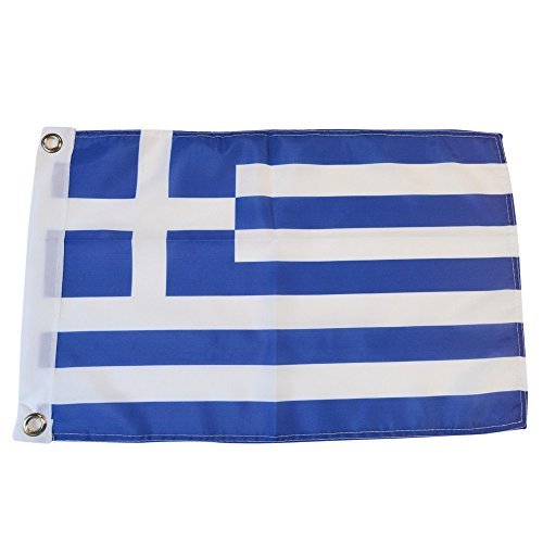 Greece Polyester Country Flags Desk Outside Waving Parade (12 Inch x 18 Inch Grommet Flag)