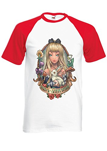 Princess Alice's in Wonderland Tattoo Rabbit Red/White Men Women Unisex Shirt Sleeve Baseball T Shirt-S