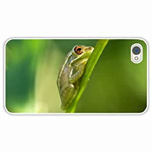 iPhone 4 4S Black Hardshell Case frog grass color White Desin Images Protector Back Cover