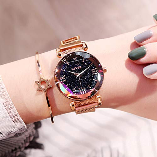 FSWH LT Women's Watch, Star Magnet Magnet Watch Waterproof Watch Star Watch Diamond Watch Personality Fashion Watch Cut Dial Sky Star Knit Strap Bracelet Student Watch,Gold