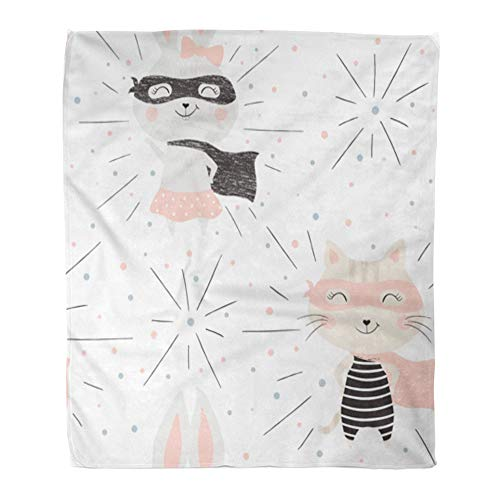 Emvency Throw Blanket Warm Cozy Print Flannel Kitty and Bunny Cute Baby Sweet Cat Rabbit Funny Costume Mask Cape Child Cool Comfortable Soft for Bed Sofa and Couch 60x80 Inches