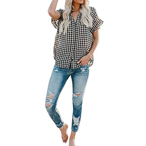 lotus.flower Women's Casual Plaid Short-Sleeved Button Shirt Shirt Pullover Top (XL, Black)