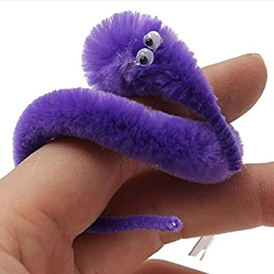 Magic Worm Toys, Pstarts Wiggly Twisty Fuzzy Worm for Carnival Favors Kid Party Supplies (Purple): Home & Kitchen