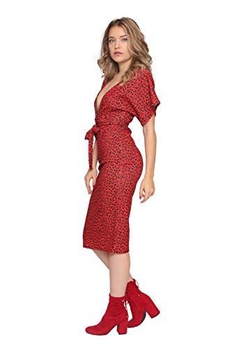 Ajustado Aarzoo Estampado Leopardo Con Midi Vestido Red Mujer De TR1RUEn
