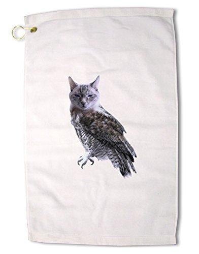 TooLoud Lucky Cat Owl Premium Cotton Golf Towel - 16' x 25'