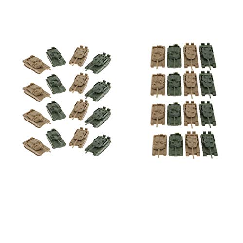 Fenteer 4D 1:144 Tank Model 360 Rotatable Tank Fort Finished Tank Model Hobby Pack of 32 (Models 32 Scale Tank 1)