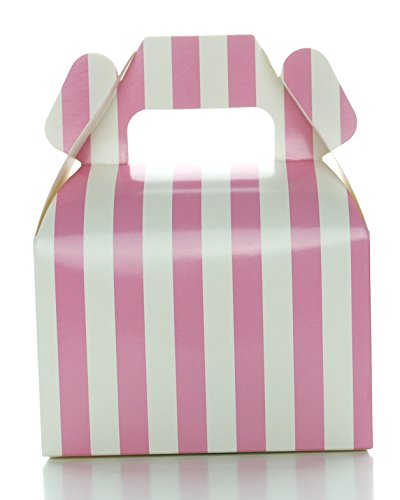 Food with Fashion Wedding Favor Boxes, Hot Pink Stripe (12 Pack) - Small Gable Gift Boxes, Bright Pink Treat Box Wedding Favor Boxes, Neon Pink Candy Box Party Favors
