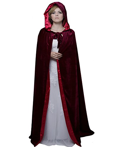 HSDREAM Unisex Hooded Wedding Cape Cloak lined with Satin For Halloween Costume (Wine Red, B) -
