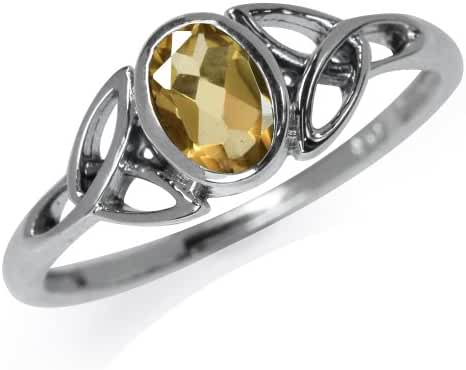 Natural Citrine 925 Sterling Silver Triquetra Celtic Knot Ring