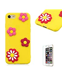 Funyye 3D Silicone Case for iPhone 7,Stylish Cute Flower Pattern Soft Gel Flexible TPU Cover for iPhone 8,Shockproof Non Slip Slim Fit Rubber Durable Shell Bumper Back Protective Case for iPhone 7/8 4.7 inch + 1 x Free Screen Protector