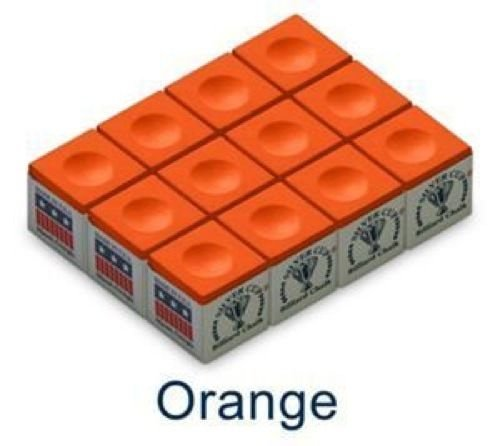 CueStix CHS12 ORANGE Silver Cup Chalk - Box of 12 Orange