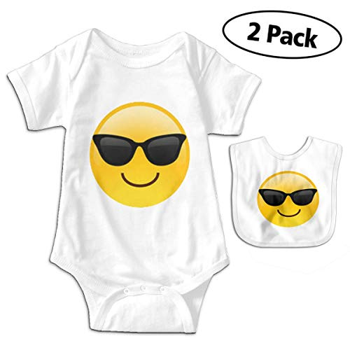 LMJ-PPF Cool Sunglasses Face Unisex Baby Short Sleeve Bodysuits Onesies Give Baby Bib, White 0-3M ()