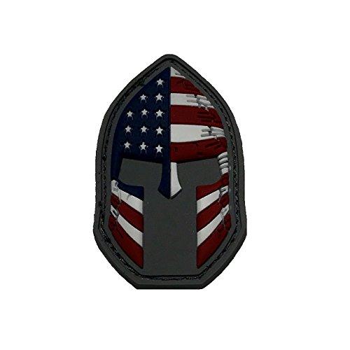 Spartan Helmet (Molon Labe) Velcro 3D PVC Rubber USA Flag Morale Patch d3e0f002dee