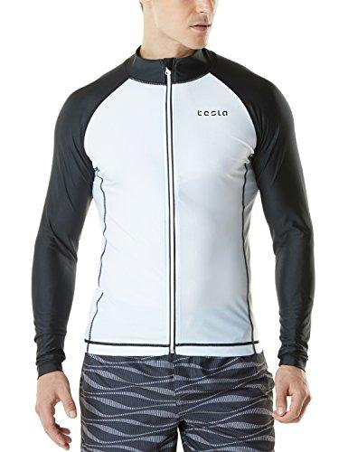 TM-MSZ03-WTK_Large Tesla Men's UPF 50+ Zip Front Long Sleeve Top Rashguard Swimsuit MSZ03