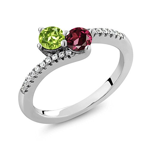 0.91 Ct Green Peridot Red Rhodolite Garnet Two Stone 925 Sterling Silver Bypass Ring -