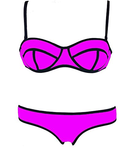 Sexy Women's Structured Bright Wet Suit Hot Bikini Set Swimsuit Swimwear Beachwear RoseX-Small - Canada Wetsuits Swimming