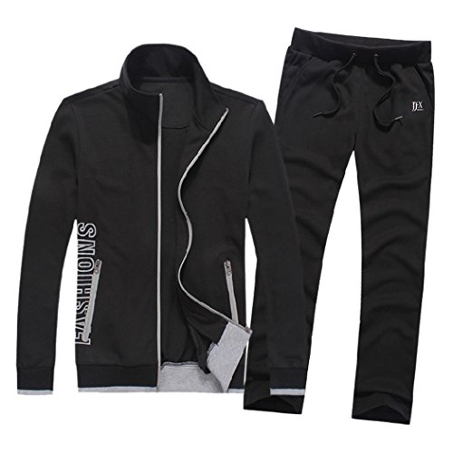 Price comparison product image M-LORD (TM) Men Classic Stand Collar 2 Piece Jacket & Pants Slim Fit Track Suit Black l