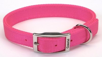 Coastal Pet Double-Ply Nylon Dog Collar (Neon Pink, 22 Inch L x 1 Inch W)