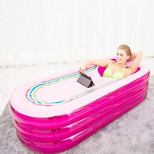 アダルトポータブルインフレータブルバスタブ、エアーポンプ/ノンスリップ発泡シートクッション温度を保つと特大PVCインフレータブルプラスチックSPAバスタブ,ピンク