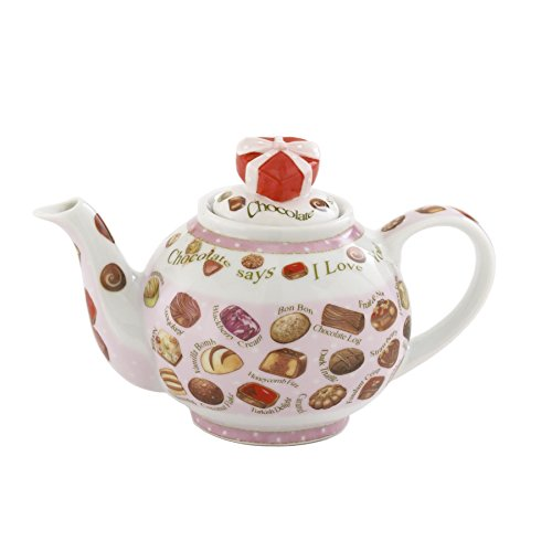 Cardew Design Chocolates 2 Cup Teapot with Heart Box Lid, 18 oz, Multicolor