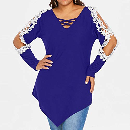 Rambling Criss Cross Sexy Women Off Shoulder Lace Top Long Sleeve Blouse Ladies Casual Tops Shirt Plus Size by Rambling (Image #3)