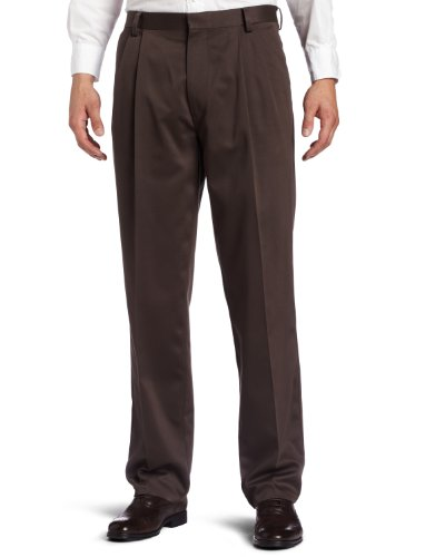 Dockers Men's Never-Iron Essential Khaki Classic Pleated-Front Pant, Oak brown - discontinued, 33W x 34L