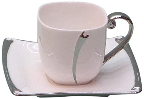 Danico CB-40 12 Piece Demitasse Set-Cup & Saucer, White With Silver