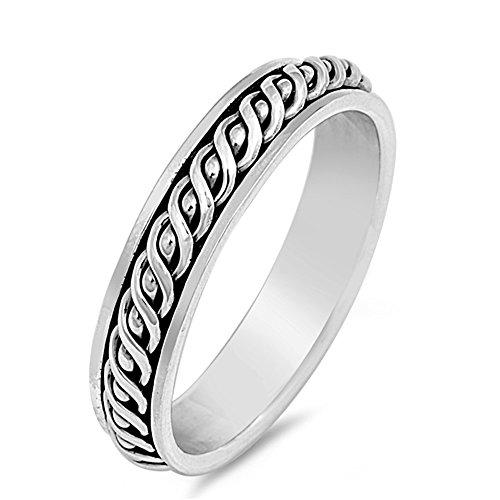 925 Sterling Silver Spinner Ring - 4