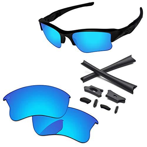 PapaViva Lenses Replacement & Rubber Kits for Oakley Flak Jacket XLJ Pro+ Ice Blue ()