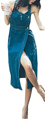 Hotsexriou S-XL Women Clothing New Sexy Denim Dresses Women Bandage Spaghetti Strap Jeans Long Dresses Womens (A7800) Blue S