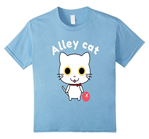 Alley Tee - Kids Cute Alley Cat Bowling T-Shirt 12 Baby Blue