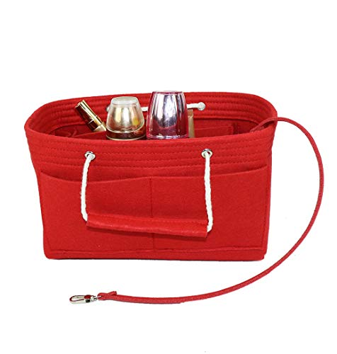 Purse Organizer Insert, Felt Insert Bag with Handle & Keychain Bag in Bag for Handbag Purse Organizer fits with Tote & Handbag, Speedy 35 and Neverfull MM, Red (Large) ()