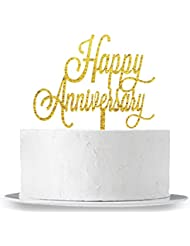 INNORU Happy Anniversary Cake Topper - Birthday / Wedding Anniversary Party Decoration Supplies Photo Props