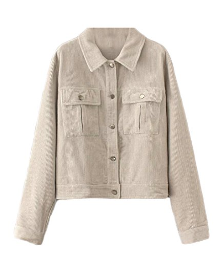 BYWX-Women Vintage Oversize Loose Corduroy Blazer Jacket Retro Coat Light Grey US M