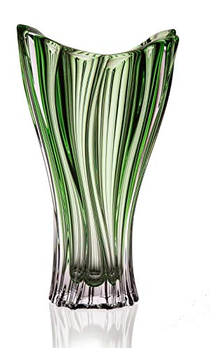 Czech Bohemian Crystal Glass Vase 12''-Height Green Decorative Wedding Gift Crystal Glass Flower Vase Elegant Centerpiece Modern ''Plantica'' Design Classic Crystal Glass (Vase Bohemian)