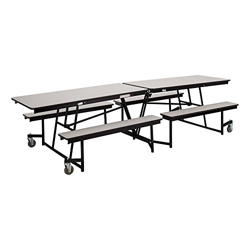 Learniture LNT-GNI1021GR Mobile Bench Cafeteria Table, Gray Nebula Top/Gray Nebula ()