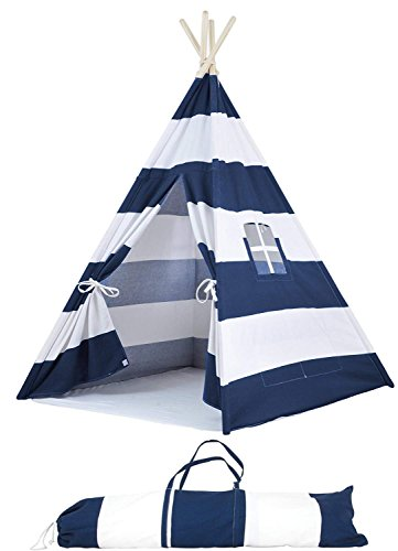 A Mustard Seed Toys Striped Kids Teepee Tent - Portable Canvas Tent, No Extra Chemicals, Includes Carrying Case (4' Side Pocket)
