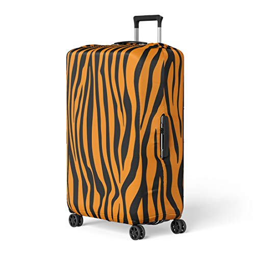- Pinbeam Luggage Cover Bengal Pattern Tiger Orange Stripe Black Jungle Safari Travel Suitcase Cover Protector Baggage Case Fits 18-22 inches