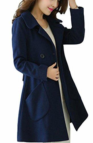 FLCH+YIGE Women Slim Fit Winter Wool Blend Overcoat Long Swing Coat Jacket 1 M