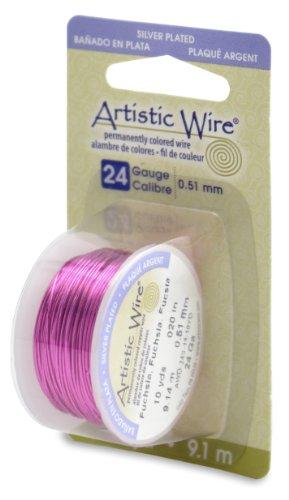 Beadalon Artistic Wire 24-Gauge Silver Plated Fuchsia Wire, 10-Yards